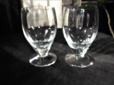 2 X VINTAGE HEAVY LEAD CRYSTAL GLASS SMALL CORDIAL GLASSES FACETED LONG BODY